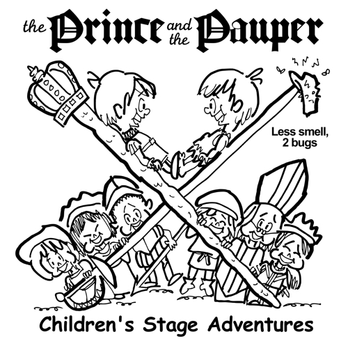 rough sketch Prince Pauper illustration two lookalike boys facing each other on crossed sword walking stick with court servants soldiers bishop below less smell two bugs pauper's cap