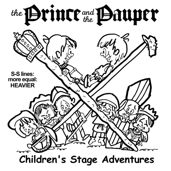 rough sketch Prince Pauper illustration two lookalike boys facing each other on crossed sword walking stick with court servants soldiers bishop below heavier more equal sword stick lines