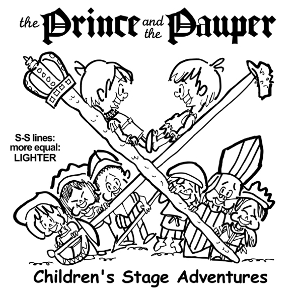 rough sketch Prince Pauper illustration two lookalike boys facing each other on crossed sword walking stick with court servants soldiers bishop below lighter more equal sword stick lines