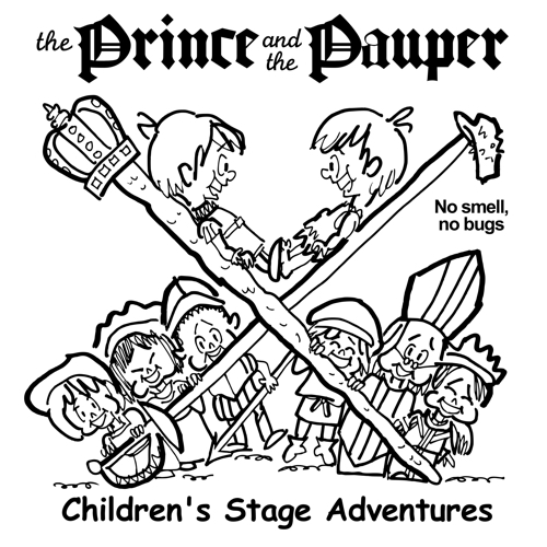 rough sketch Prince Pauper illustration two lookalike boys facing each other on crossed sword walking stick with court servants soldiers bishop below no smell no bugs pauper's cap