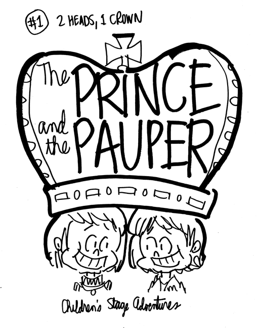 rough sketch Prince Pauper illustration two lookalike boys sharing a single large crown