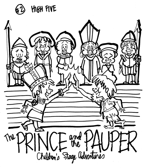 rough sketch Prince Pauper illustration two lookalike boys giving each other high five at palace court servants soldiers bishop look on