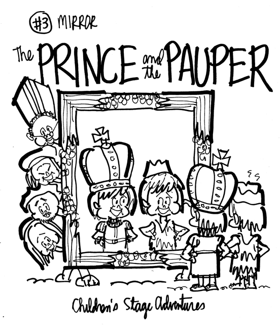 rough sketch Prince Pauper illustration two lookalike boys looking at each other in mirror bishop court servants attendees peering around mirror