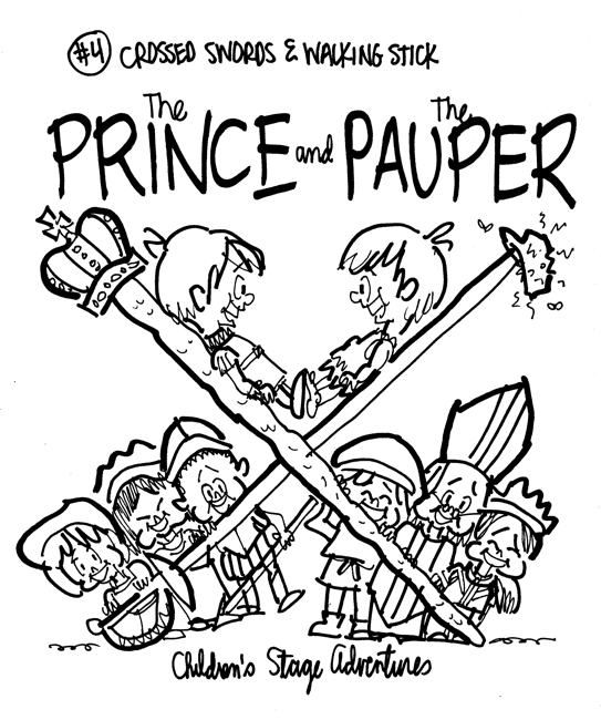 rough sketch Prince Pauper illustration two lookalike boys facing each other on crossed sword walking stick with court servants soldiers bishop below