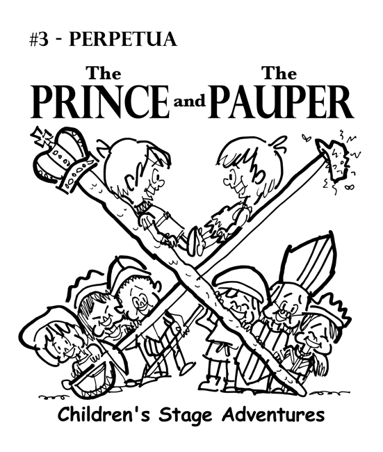 rough sketch Prince Pauper illustration two lookalike boys facing each other on crossed sword walking stick with court servants soldiers bishop below Perpetua typeface for title