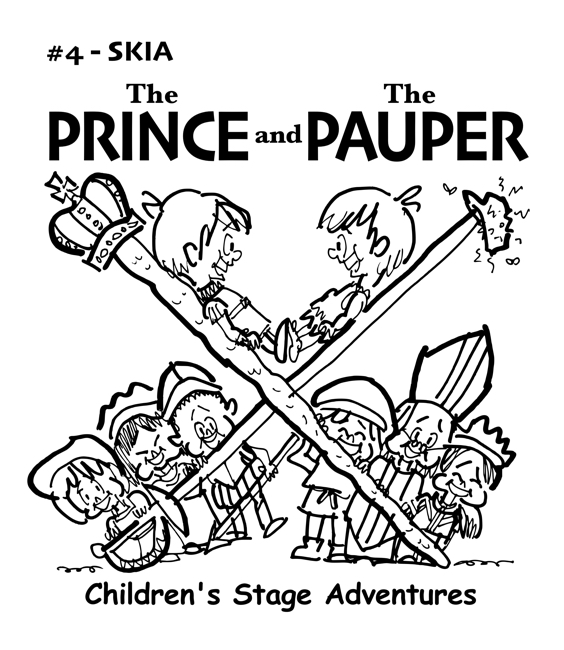 rough sketch Prince Pauper illustration two lookalike boys facing each other on crossed sword walking stick with court servants soldiers bishop below Skia typeface for title