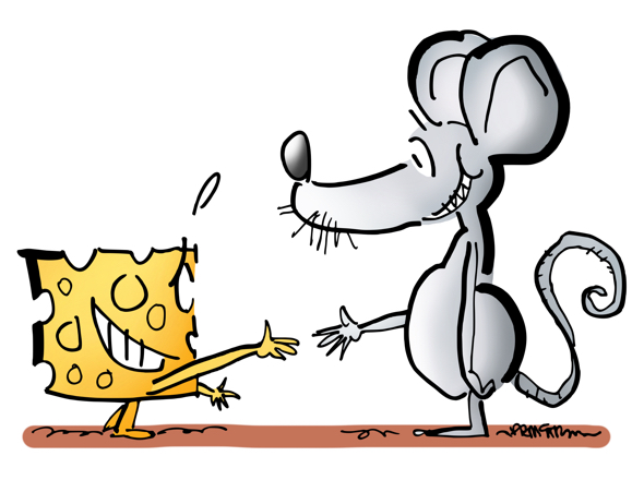 Unusual networking piece of cheese shaking hands with a mouse