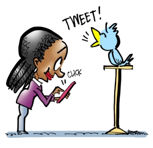 Woman clicking her mobile phone causing bird to tweet using content promotion app Click to Tweet