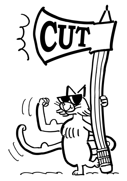 cat with sunglasses making muscle with arm tail holding big ax with pencil handle ready to edit copy make cuts