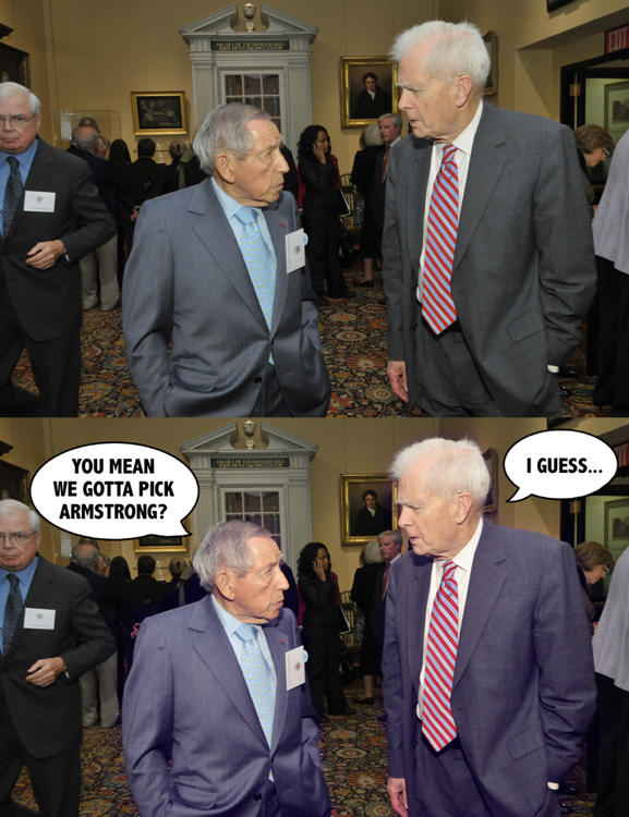 Before & After old royalty-free archive photo manipulated edited added captions word balloons two guys in suits talking at reception