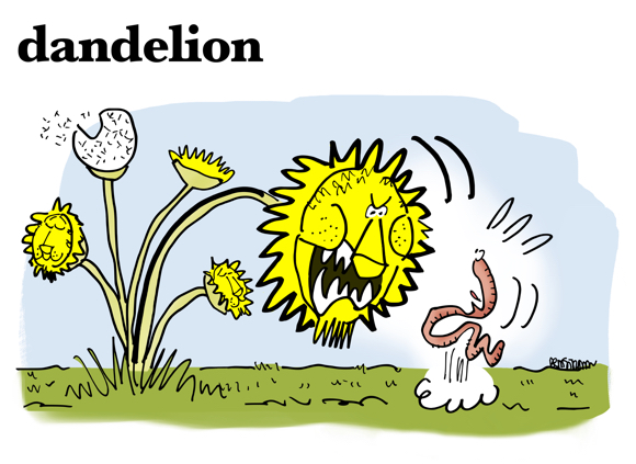 cartoon dandelion with lion face bending over to scare worm