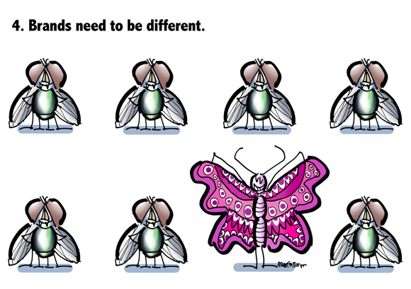 Brands need to be different brightly colored butterfly spreading her wings among dull-colored houseflies