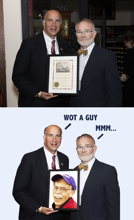 Before & After old royalty-free archive photo manipulated edited substituted face in place of framed certificate
