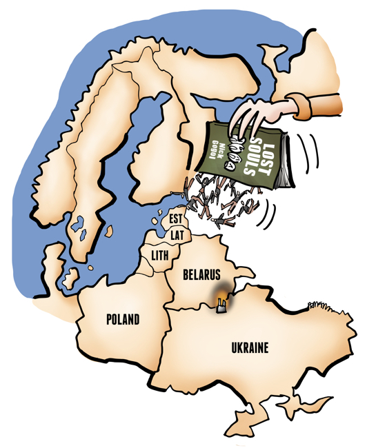 map Eastern Europe Estonia Latvia Lithuania Belarus Ukraine journalists falling from pages of Gogol's Lost Souls