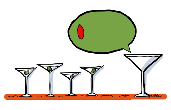 big martini glass speaking to smaller martini glasses speech balloon is giant olive
