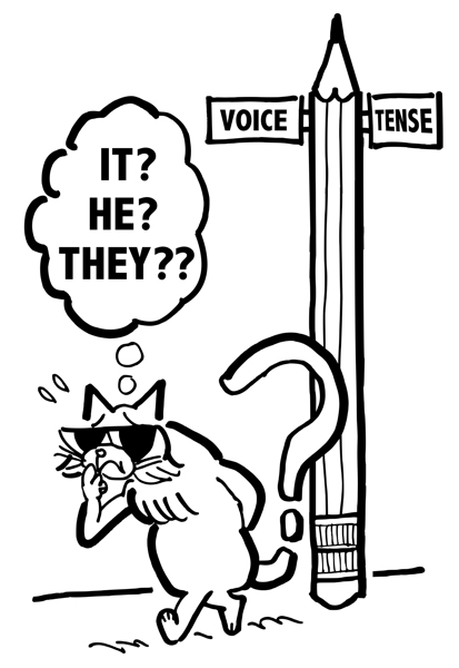 cat with sunglasses pacing by pencil street sign corner of Voice and Tense worrying what pronoun to use