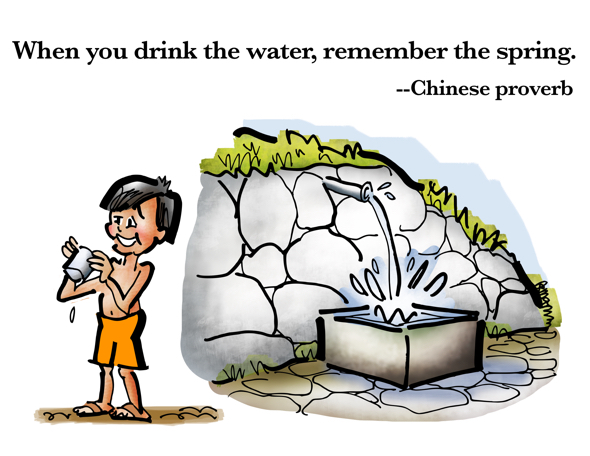 young boy drinking water from tin cup gushing into basin when you drink the water remember the spring Chinese proverb be grateful
