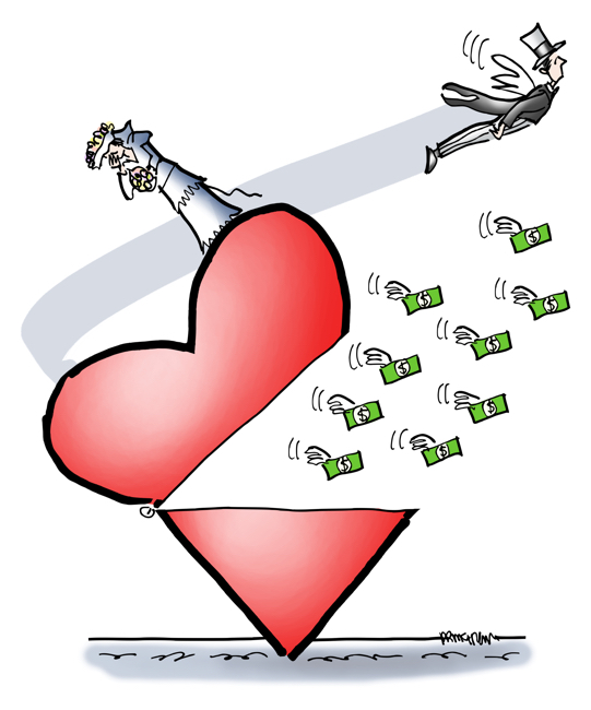 bride standing on heart left at altar fiancé in top hat flying off with his money won't help bride pay off student debt