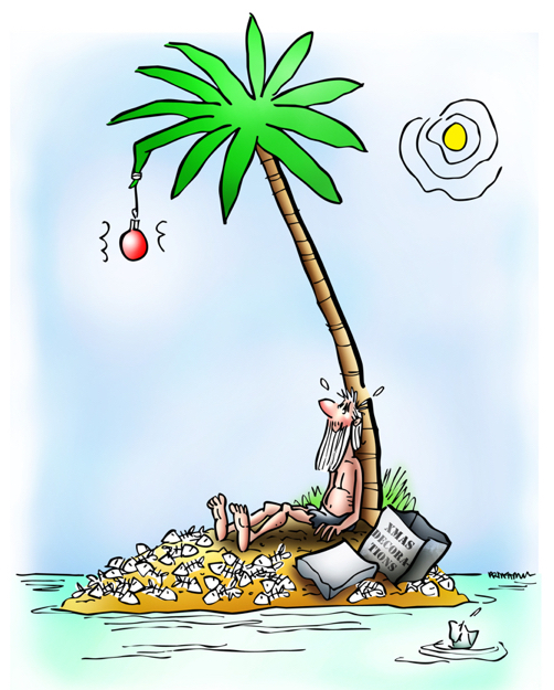 desert island at Christmas marooned guy has hung up his one ornament on single palm tree
