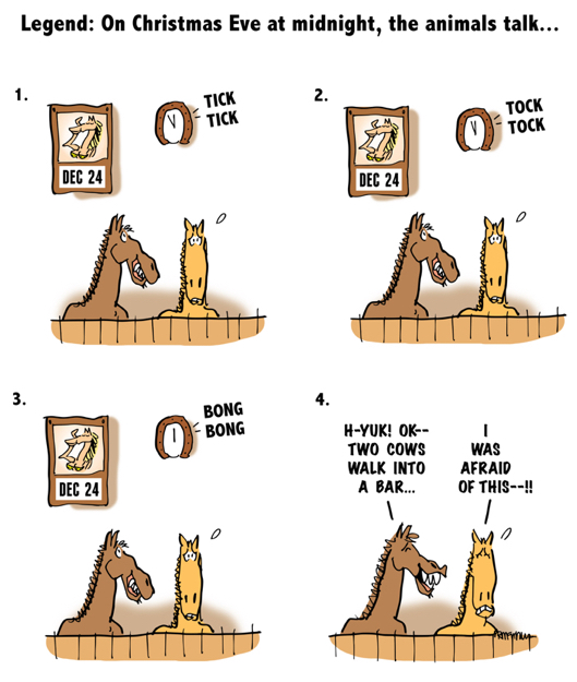 4-panel gag cartoon two horses in stall animals talk on Christmas Eve they're waiting for clock to strike midnight