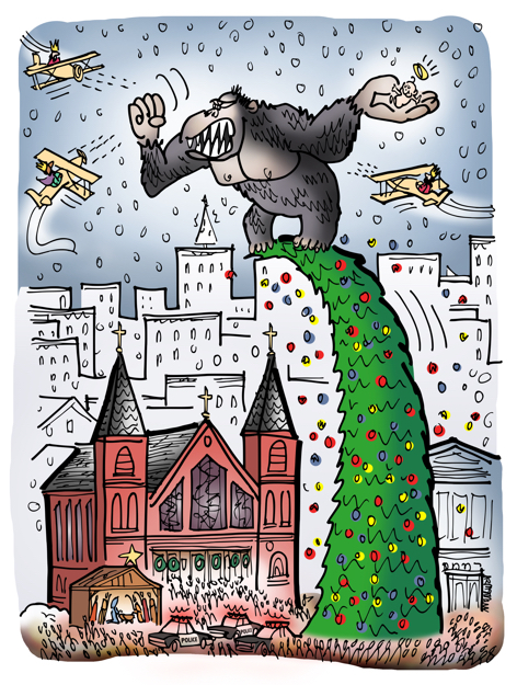 King Kong has stolen Baby Jesus out of creche by church climbed to top of huge pine tree Magi attacking him in biplanes with machine guns like famous movie