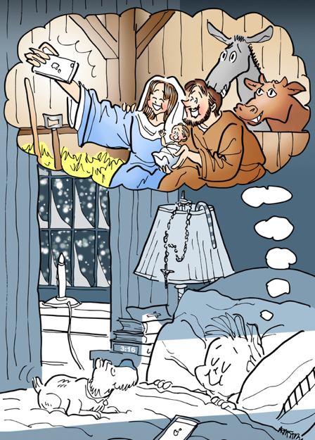 Boy dreaming in bed on Christmas Eve with dog snowing rosary on lamp imagining Mary taking selfie of her Joseph Jesus in manger stall
