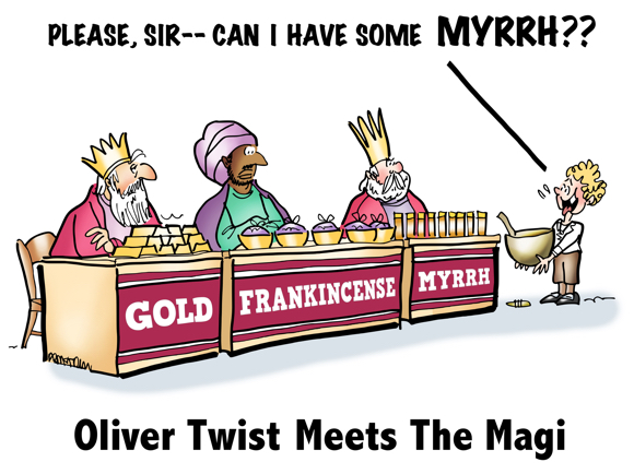 Oliver Twist with empty bowl facing three kings booths at Christmas fair selling gold frankincense myrrh asking Please, sir, can I have some myrrh?