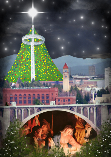 Christmas card Spokane Washington cityscape scene with bridge and U.S. Pavilion from 1974 World's Fair manger scene painting Christmas tree lights