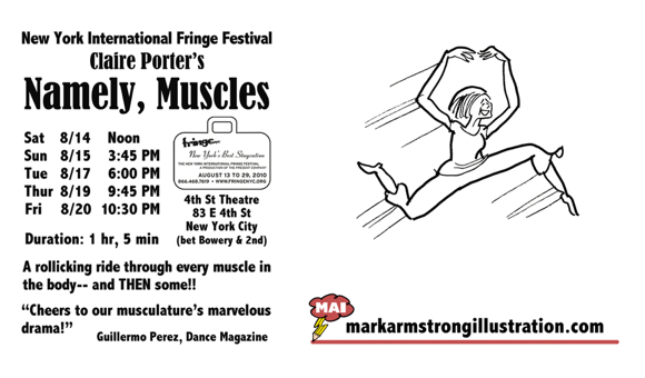 postcard mailer for performance artist Claire Porter Namely Muscles New York International Fringe Festival