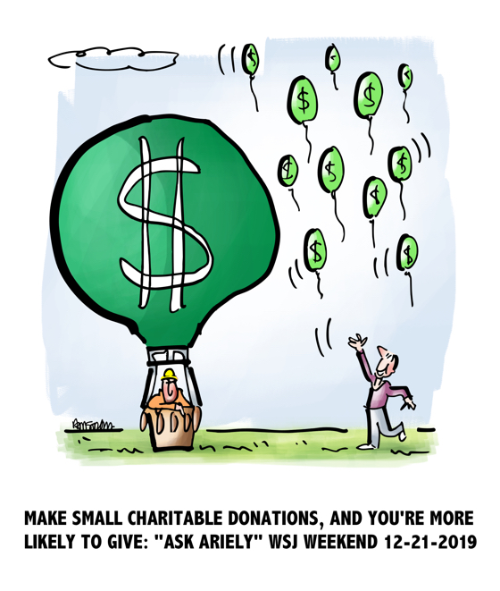 balloons representing charitable donation more likely to give if small amount Ask Ariely advice column Wall Street Journal Weekend