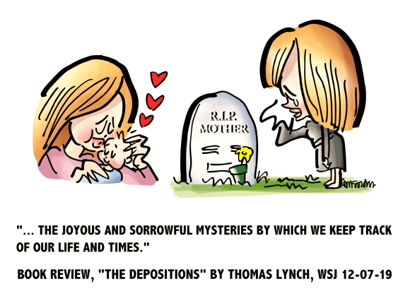 woman kissing baby then standing next to her mother's gravestone joyous sorrowful mysteries by which we keep track of our life times book review The Depositions Thomas Lynch Wall Street Journal