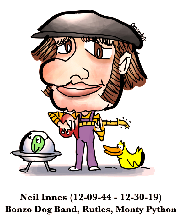 caricature Neil Innes British songwriter music Bonzo Dog Band Rutles Monty Python Urban Spaceman