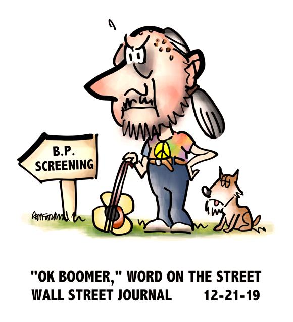 Old guy guitar cane peace Woodstock shirt ponytail blood pressure screening OK Boomer Gen Z slang for irrelevant senior citizen Wall Street Journal column