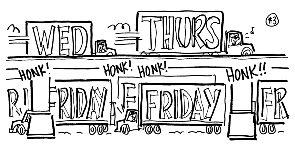 rough sketch moving vans backed up on freeway honking horns everybody moving on Friday above vans delivering on Wednesday Thursday speeding along