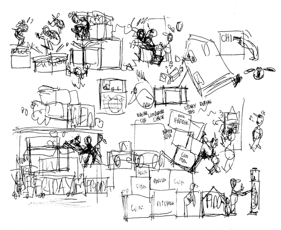 rough thumbnail sketches for American Van Lines post about moving myths