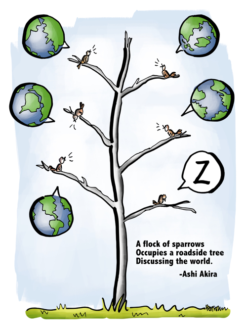 Sparrows in tree discussing world globe word balloons one bird asleep haiku Ashi Akira