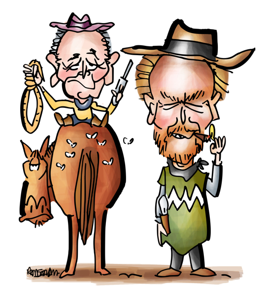 Former New York City mayor Mike Bloomberg sitting on horse with gun noose next to Clint Eastwood lighting cigar dressed as Man With No Name from spaghetti western movies