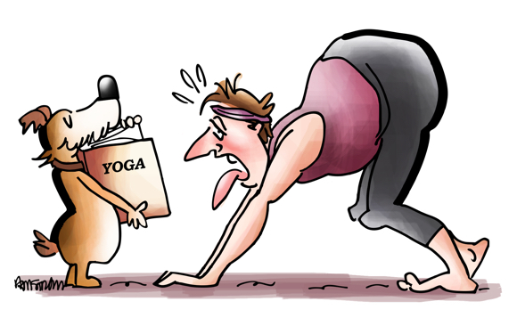 out of shape guy doing yoga trying to learn dog position his dog is holding yoga book open for him to reference