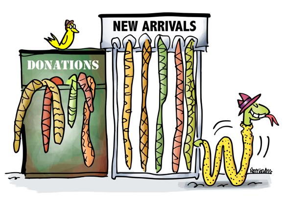 donation box for old snake skins rack for new arrivals vintage clothing store for snakes customer leaving wearing new snakeskin