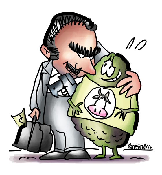 Mexican gangster with duffle bag full of money gun in waistband has arm around frightened avocado wearing cow tee-shirt