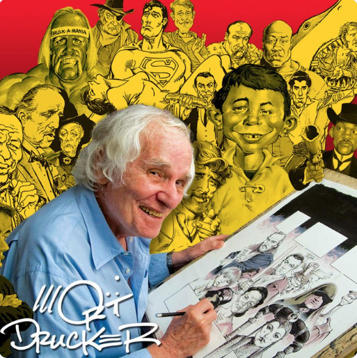 Mad Magazine cartoonist illustrator Mort Drucker at drawing board cover for book five decades of work