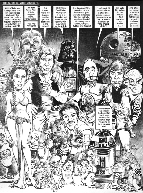 Mort Drucker Star Wars movie satire for Mad Magazine Carrie Fisher Harrison Ford Mark Hamill
