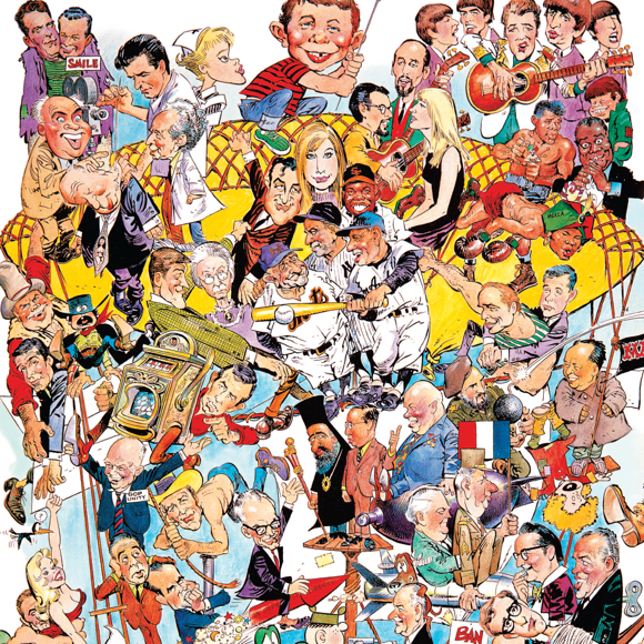 big montage of caricature drawings by Mad Magazine cartoonist illustrator Mort Drucker