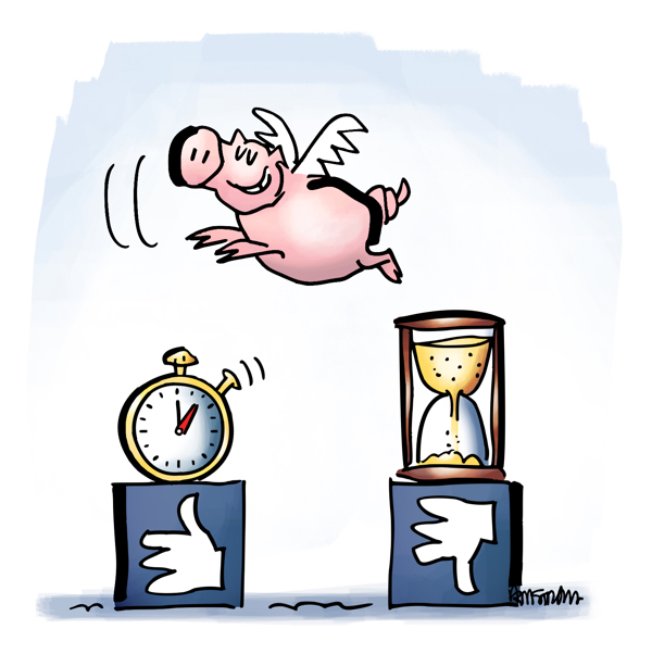 pig with wings flying over stopwatch hourglass people less apt to believe fake news when they've had time to think about it