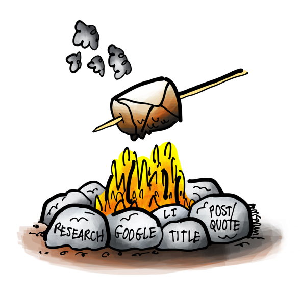 marshmallow on stick representing email envelope toasting over fire keywords on rocks do research before send mail person's job title LinkedIn profile something they've written you can comment on