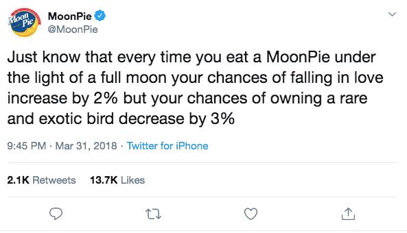screen shot Moonpie tweet full moon increase chance of fall in love decrease chance own exotic bird