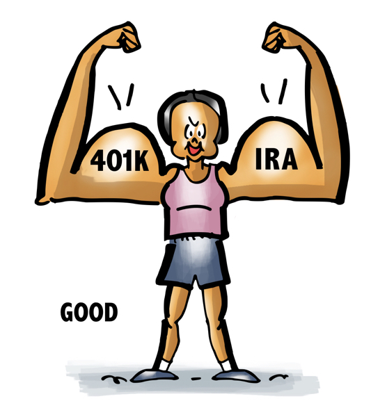 woman in gym clothes making big arm muscles having 401K IRA is good smart way to plan for retirement