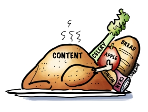 Turkey representing post content stuffed with keywords celery bread apple onion can of cranberries
