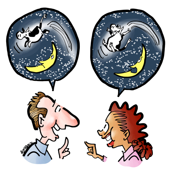 happy man woman talking word balloons two different versions of how cow jumped over moon