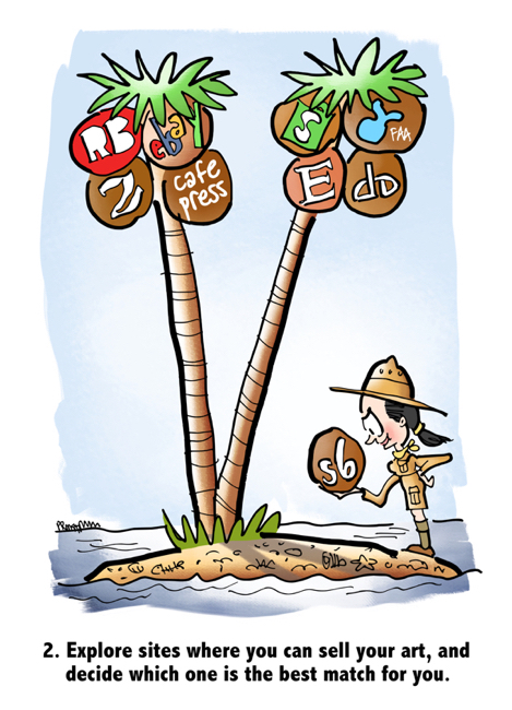 woman wearing safari hat on desert isle palm tree with coconuts representing different website platforms where can sell artwork